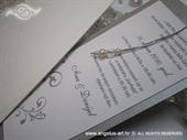 Pozivnica za vjenčanje Silver Pearl Charm