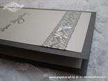 svadbeni menu srebrni sa srebrnom čipkastom trakom