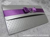 Pozivnica za vjenčanje - Purple Silver Letter