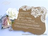 vintage retro pozivnice za vjencanje sa cipkom eko natural smede boje