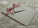 zahvalnica rozo srebrna s mašnom i leptirima