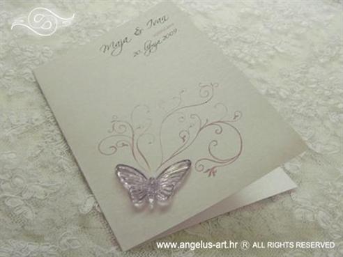 zahvalnica za vjenčanje s lila leptirom i tiskom