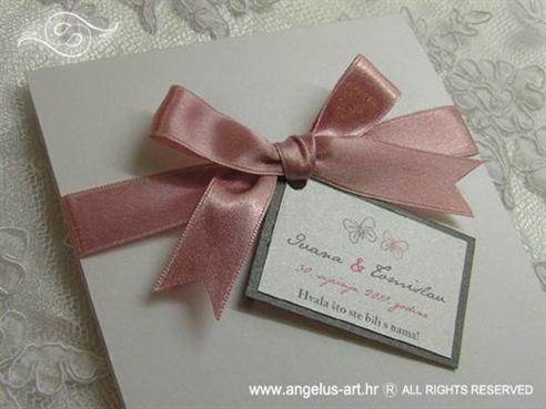 zahvalnica za vjenčanje s rozom mašnom i leptirima