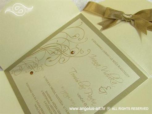 zlatna bež pozivnica za vjenčanje sa satenskom mašnom i cirkonima