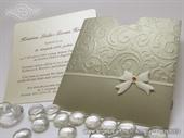 Pozivnica za vjenčanje - Gold Bow Charm