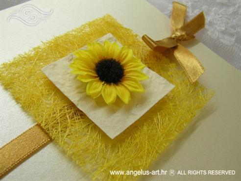 žuta pozivnica sa sisalom i suncokretom